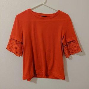 J.Crew Lace-Sleeve T. Shirt